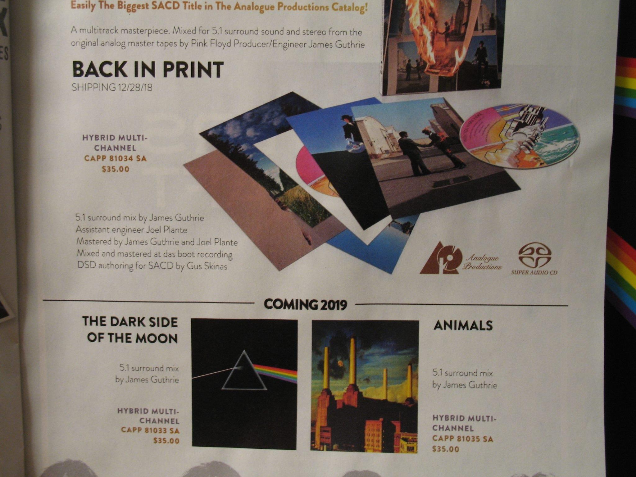 Pink Floyd Animals On 5 1 Surround Sound Sacd Analogue Prods