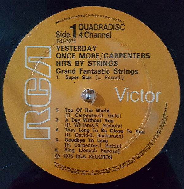 GRAND FANTASTIC STRINGS -Carpenters Sound-Yesterday Once More. RCA R4J-7074 (CD4) [Philippines]c.jpg
