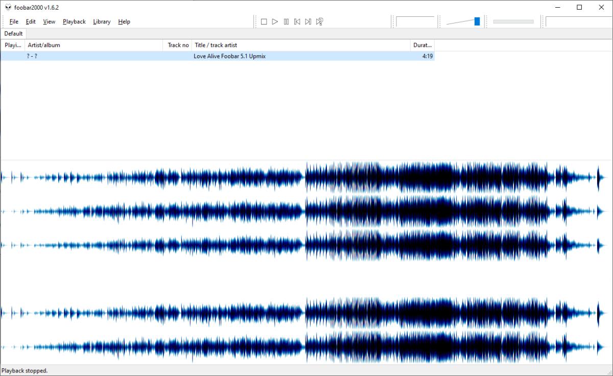 Love Alive foobar2000 5.1 upmix Waveform.png